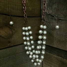 West & Co. WEST & CO. SHORT PEARL COPPER NECKLACE N993PRL