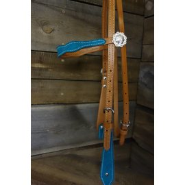 TURQUOISE TAN CONCHO BROWBAND HEADSTALL