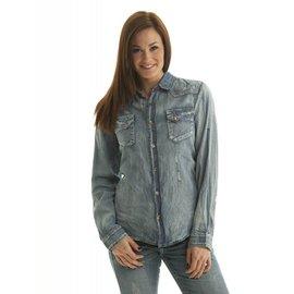 Cowgirl Tuff Women's Cowgirl Tuff Long Sleeve Shirt C02-F00201-BLU-3L