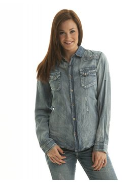 Cowgirl Tuff Women's Cowgirl Tuff Long Sleeve Shirt C02-F00201-BLU-3L