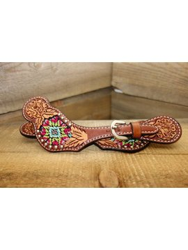 Rafter T Rafter T Women's Floral Tooling Beaded Inlay Silver Dot Spur Strap SS423
