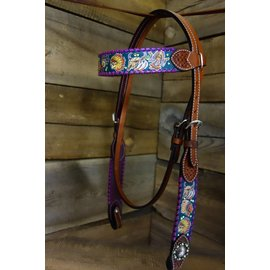 Rafter T Rafter T Teal Tribal Print Purp Whipstitch Browband HS BB3572
