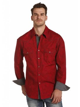 ROCK&ROLL COWBOY Men's Rock and Roll Cowboy Snap Front Shirt B2S4110