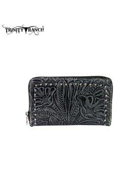 Trinity Ranch Trinity Ranch Tooled Wallet TR22-W003 BK-GY