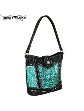 Montana West Women's Trinity Ranch Tooled Hobo Bag TR59-916 BK-TQ
