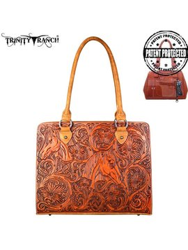 Montana West Women's Trinity Ranch Conceal Carry Tooled Tote TR67G-8307 BR