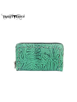 Montana West Women's Trinity Ranch Tooled Wallet TR22-W003 BK-TQ