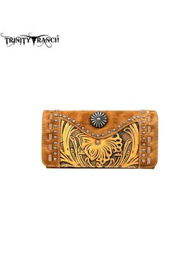 Montana West Women's Trinity Ranch Tooled Wallet TR59-W018 BR