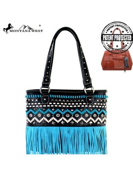 Montana West Women's Montana West Conceal Carry Fringe Tote MW384G-8014 BK