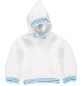 Carriage Boutique White Blue Acrylic Hooded Sweater