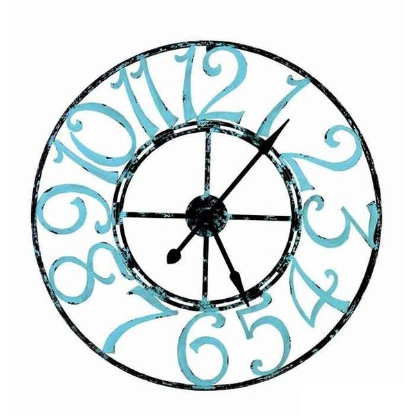 Spa Blue Distressed Metal Clock SHIPS FREE