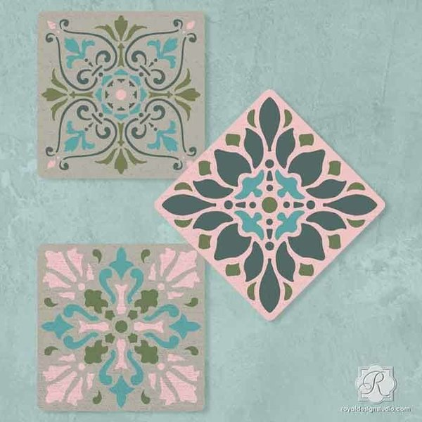 Royal Design Studio Renaissance Tile Stencils Set A