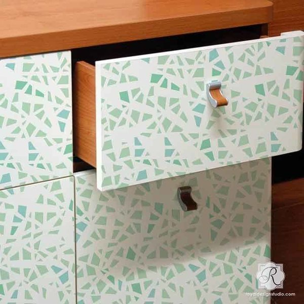 Royal Design Studio Shattered Allover Furniture Stencil