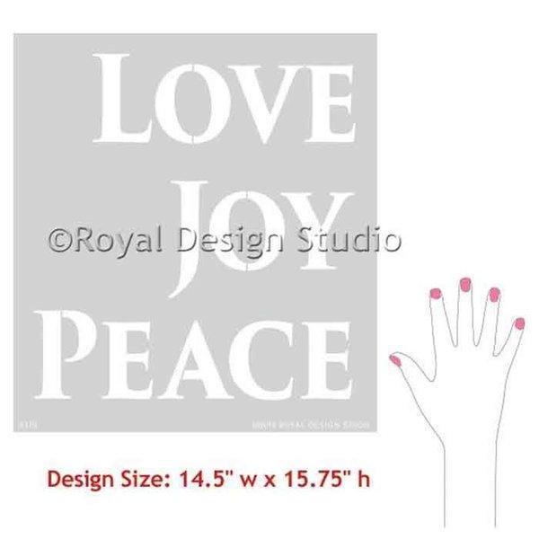 Royal Design Studio Love Joy Peace Lettering Christmas Stencil