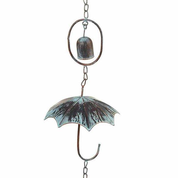 Patina Umbrella w/ Bells Rain Chain