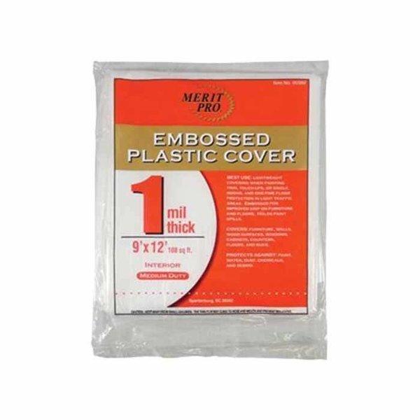 Embossed Plastic Drop Cloth, 9'x12'. 1 mil.