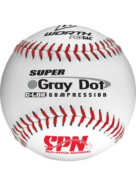 WORTH White Gray Dot SPN Softball Ball