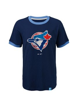 OUTERSTUFF Toronto Blue Jays Baseball Stripes Kids Ringer tee