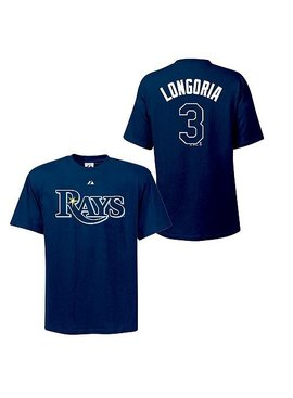 MAJESTIC EVAN LONGORIA RAYS T-SHIRT YOUTH X-LARGE