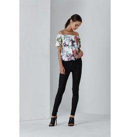 SHILLA THE LABEL DOLCE FLORAL OFF SHOULDER TOP