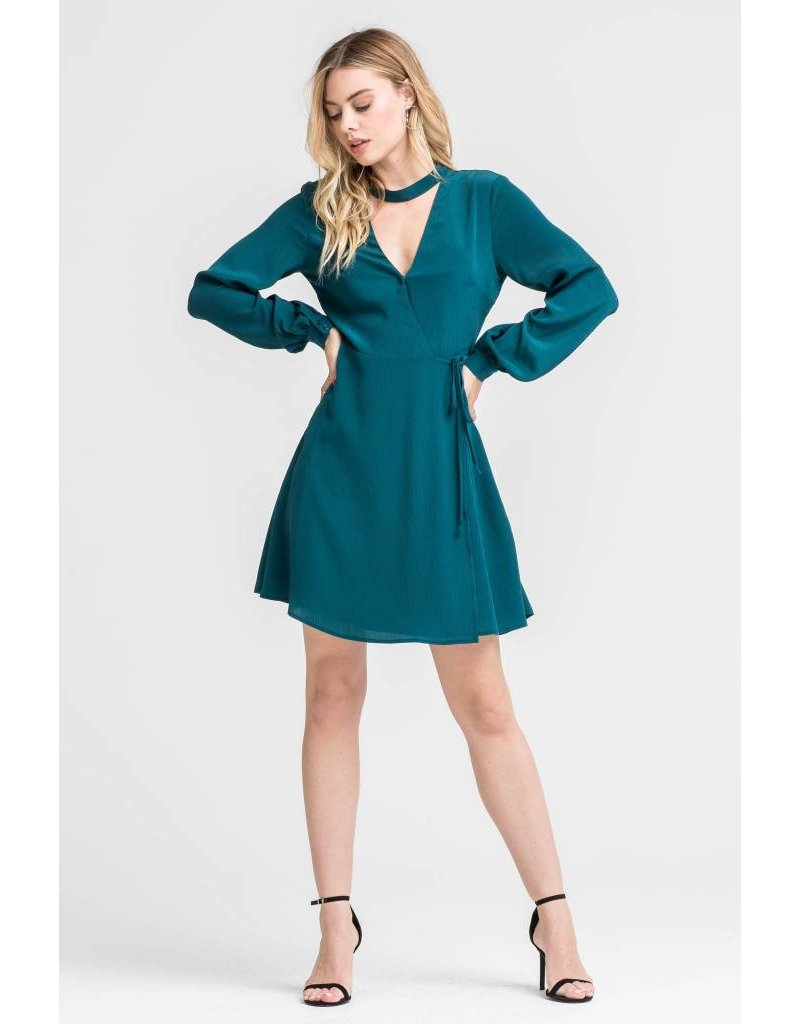 LUSH CLOTHING MOCK NECK WRAP DRESS