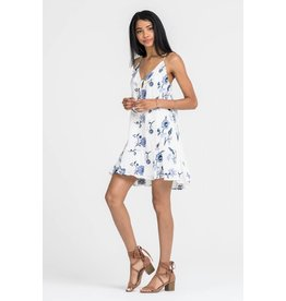 LUSH CLOTHING RUFFLE FRONT EMBROIDERED DRESS