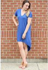 MICHAEL LAUREN DAVEY V NECK HI LOW DRESS