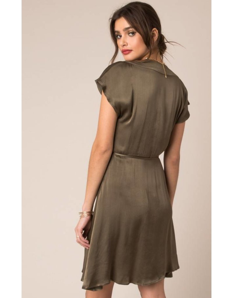 BLACK SWAN LAYLA CAP SLEEVE SATIN DRESS