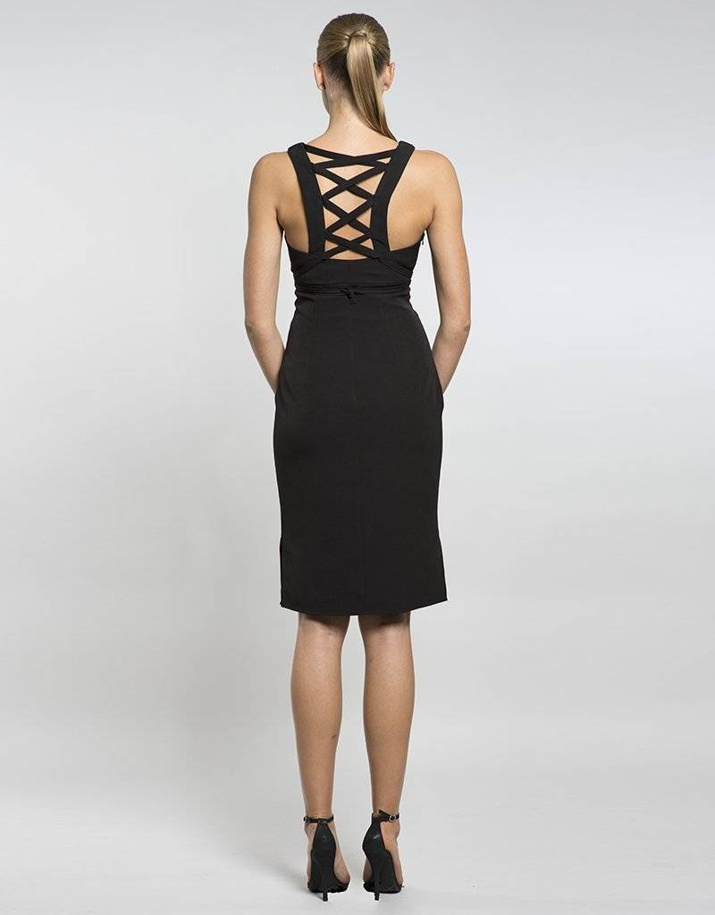 LUMIER by BARIANO MERCURY LACE UP MIDI DRESS