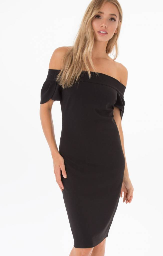 BLACK SWAN EVALYN OFF SHOULDER MIDI DRESS