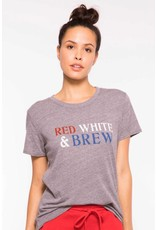 SUBURBAN RIOT RED,WHITE AND BREW LOOSE TEE
