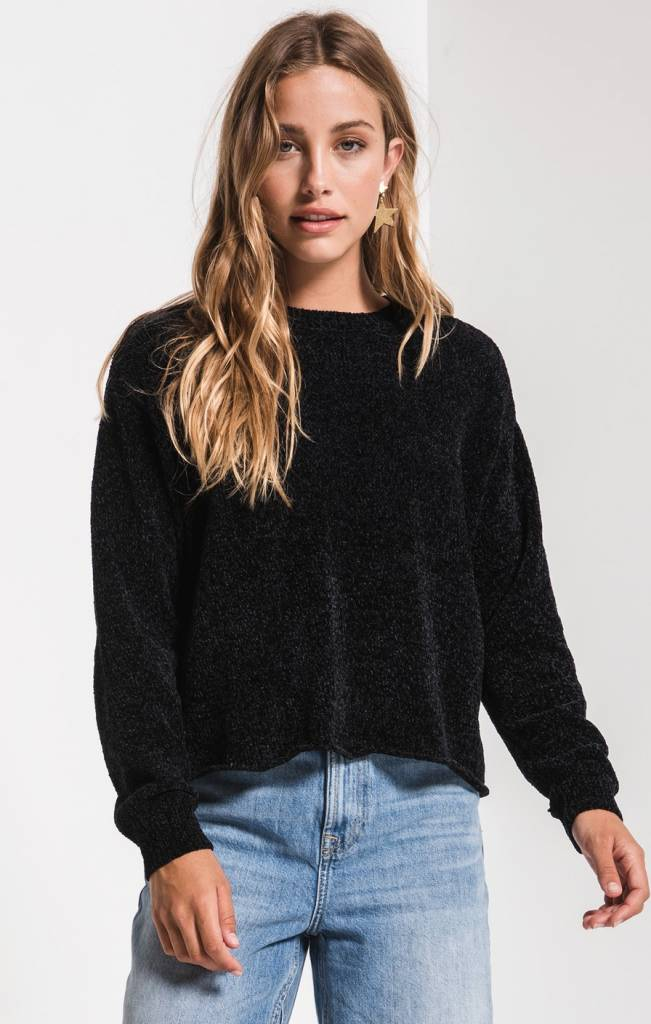 RAG POETS CHENILLE CROPPED PULLOVER