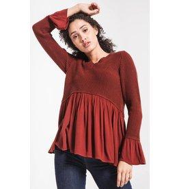 Rag Poets Vesta Knitted Peplum Sweater