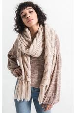 Rag Poets Jen Fringe Cable Knit Scarf