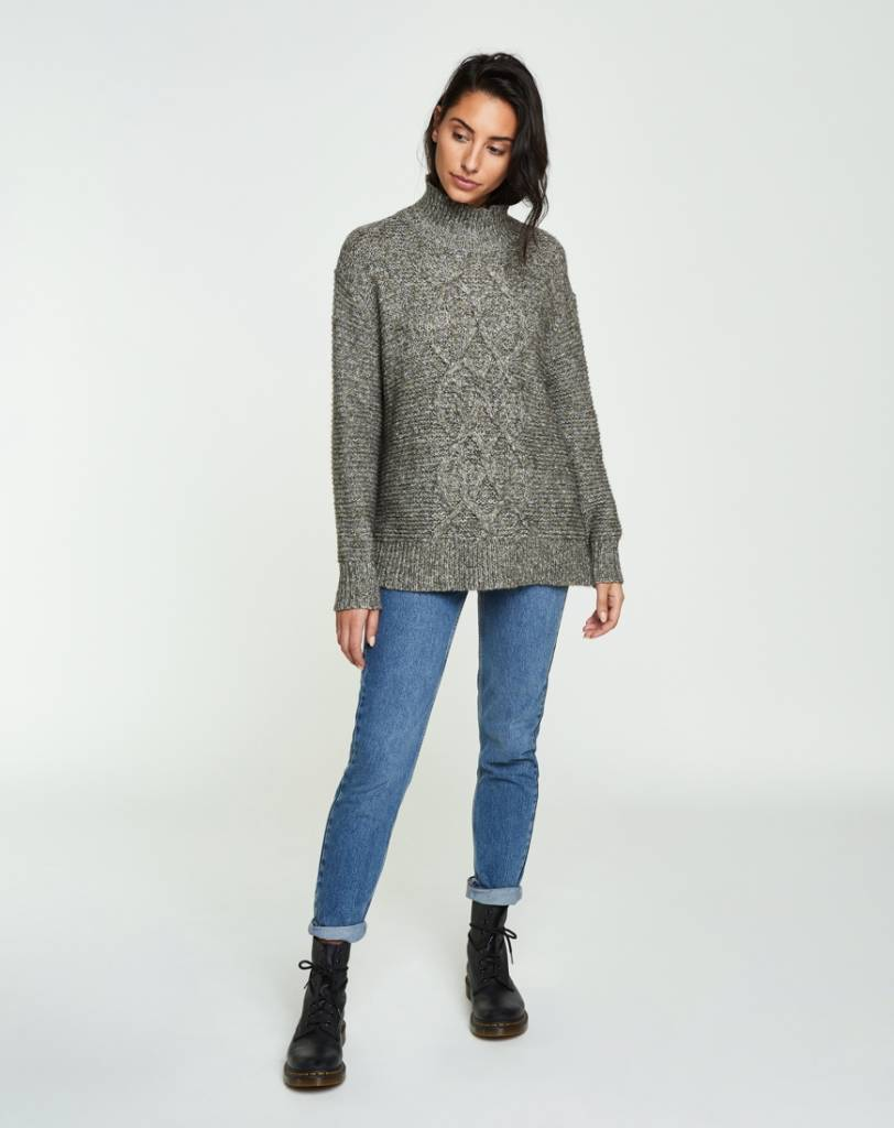 Backdrop Fashion Cable Mock Neck Pullover