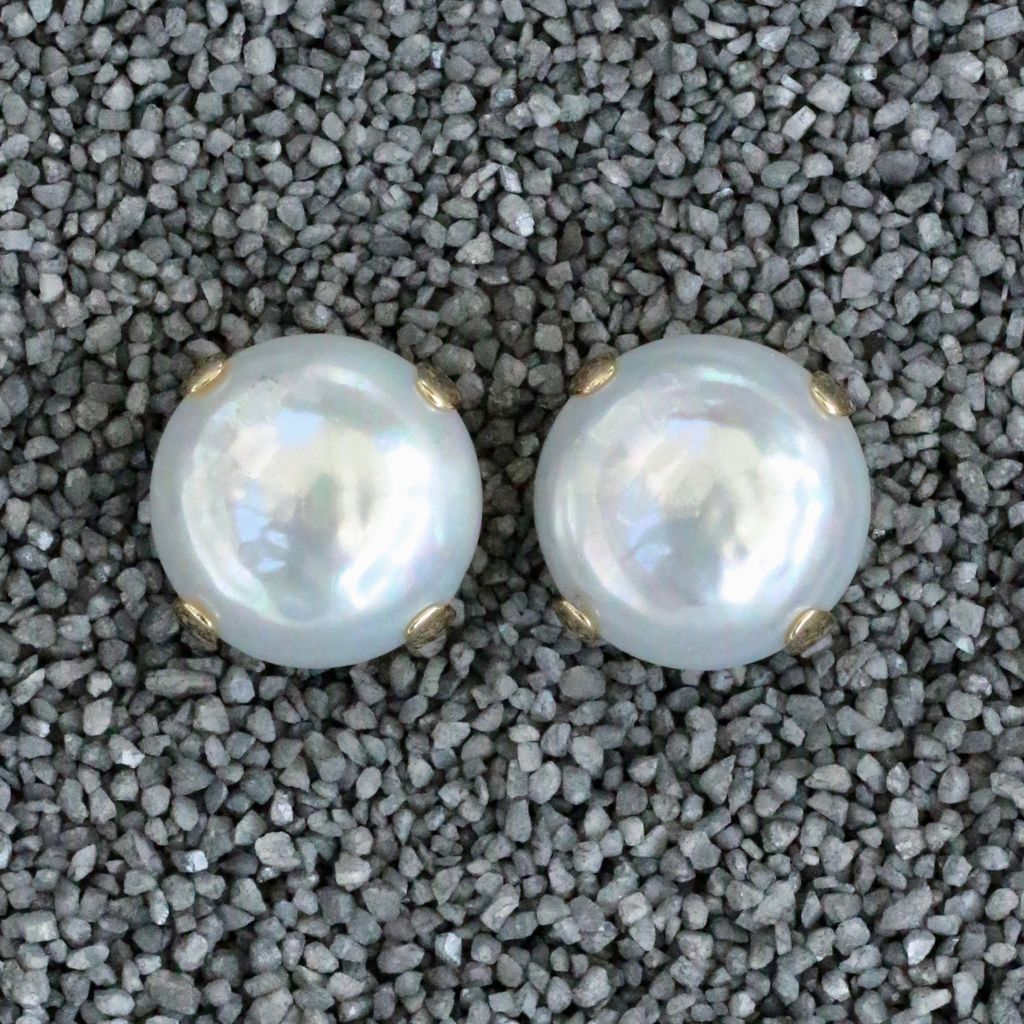 Jewelry FMontague: White Pearl Button w/Gold