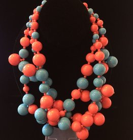 Jewelry KJLane: Medium Turquoise & Coral Clusters