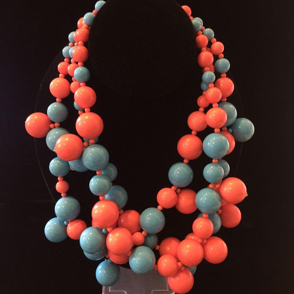 Jewelry KJLane: Medium Turquoise & Coral Clusters