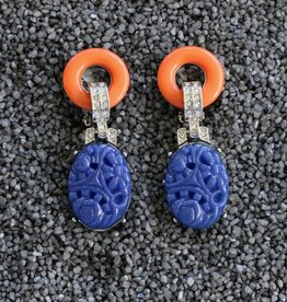 Jewelry KJLane: Carved Blue Jade Art Deco Clip On