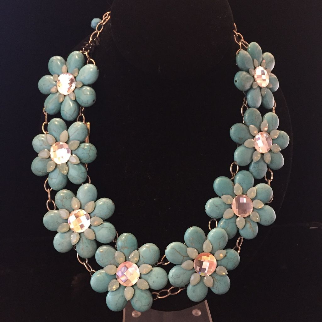Jewelry FMontague: Turqouise & Crystal Daisies
