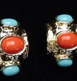 Jewelry VCExclusives: Gold Drum w/Coral & Turquiose