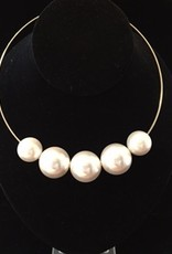Jewelry KJLane: 5 Pearls On Gold Wire