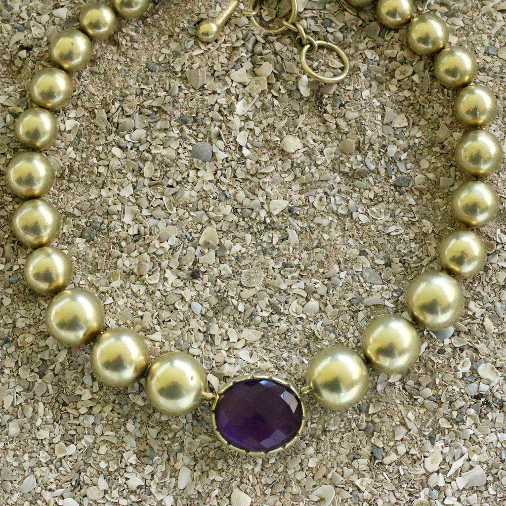 Jewelry Vaubel: Eggplant Bezel w/Gold Orbs