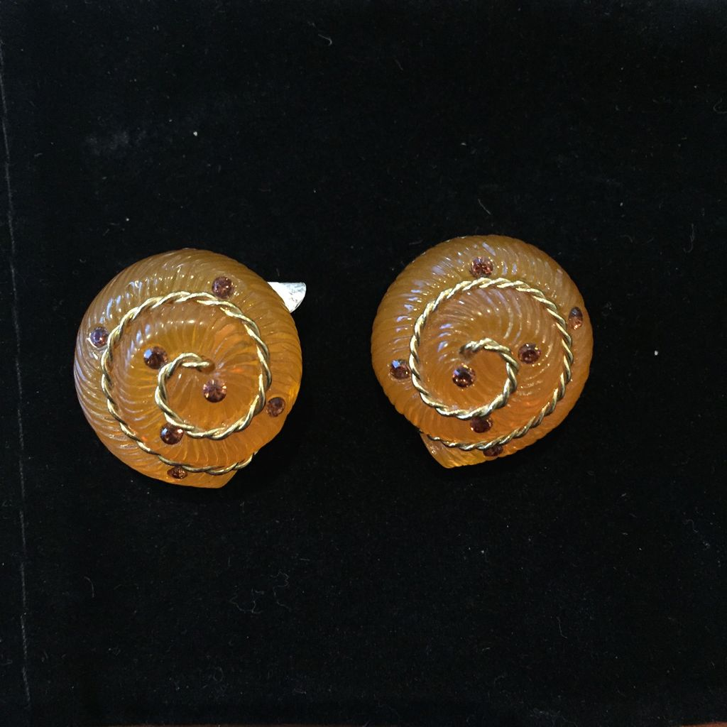 Jewelry VCExclusives: Amber Nautilus w/Gold Rope Inlay