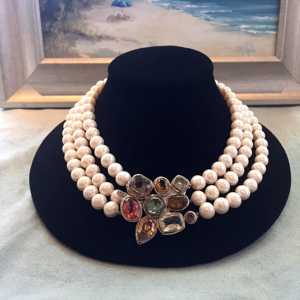 Jewelry VCExclusives: Pearl Tri-Strand w/Turquoise