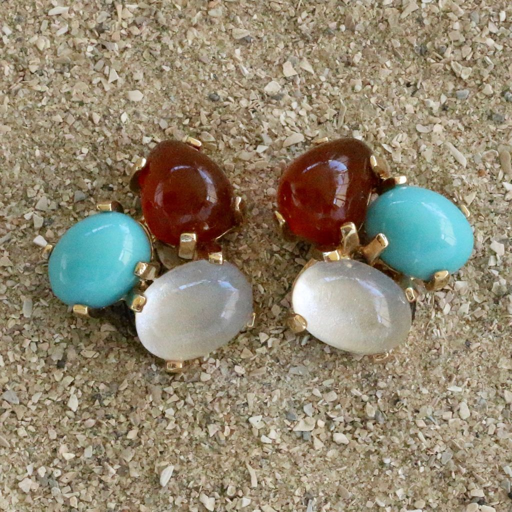 Jewelry VCExclusives: Tri Colored Drops Turquoise Amber Clear