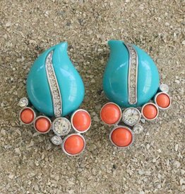 Jewelry KJLane: Turquoise & Coral  Teardrops