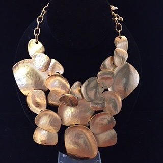 Jewelry KJLane: Hammered Gold Bib
