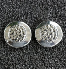 Jewelry Sebbag: Silver Round Button