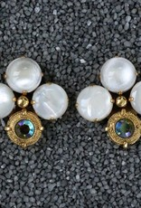 Jewelry Blinn: Antique Three Stone Lucent w/Blue Crystal and Gold Bezel